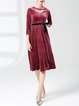Cutout Solid 3/4 Sleeve A-line Casual Dress
