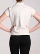 White Stand Collar Sheath Linen Spin Cropped Jacket