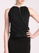 Black Shirt Collar Cotton-blend Color-block Vest