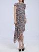 Asymmetrical Bateau/boat Neck Short Sleeve Printed Midi Dress