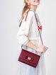 Burgundy PU Fold-over Flat Top Sweet Shoulder Bag