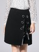 Black Casual Lace Up Solid Midi Skirt