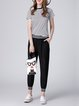Black H-line See-through Look Spandex Casual Cropped Pants
