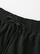 Black Casual Gathered Solid Shorts