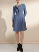 Blue Zipper Simple Solid A-line Mini Dress