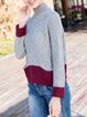 Gray Casual H-line Color-block Turtleneck Sweater