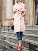 Pink H-line Long Sleeve Lapel Plain Pockets Trench Coat