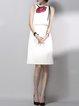 White Sheath Sleeveless Floral Embroidered Midi Dress