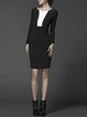 Black Color Block Long Sleeve Bodycon Cotton Midi Dress