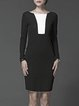 Black Color Block Long Sleeve Bodycon Cotton Midi Dress