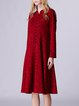 Wine Red Stand Collar Long Sleeve A-line Midi Dress