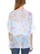 Light Blue Floral Print Half Sleeve Kimono