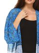 Blue Bell Sleeve Beach Cover Abstract Printed Kimono