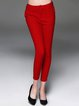 Red Casual Plain Sheath Skinny Leg Pant