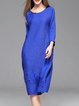 Royal Blue Casual Ribbed Midi Dress