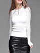 White Crew Neck Casual Pierced Knitted Sweater