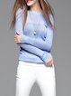 Light Blue Crew Neck Knitted Long Sleeve Sweater