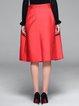 Red Elegant Skater Cotton-blend Bow Midi Skirt