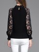 Balloon Sleeve Elegant Cashmere Beaded Lace Stand Collar Sweater