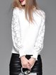 White Lace Knitted Plain Balloon Sleeve Sweater
