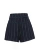 Navy Blue Stripes Casual Pockets Shorts