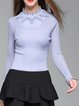 Purple Crew Neck Plain Embroidered Elegant Knitted Sweater
