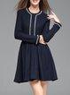Navy Blue Crew Neck Elegant Plain Beaded Mini Dress