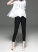 Silk Buttoned Lace Paneled Shorts Sleeve Casual Blouse