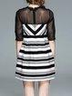 Black Elegant A-line Stripes Paneled Mini Dress