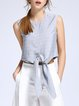 Simple Sleeveless Bow Cropped Top