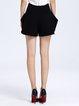 Casual Ruffled Solid Shorts