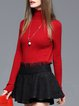 Long Sleeve Solid Casual Knitted Wool blend Turtleneck Sweater