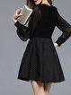 Black Paneled Balloon Sleeve Wool blend Skater Mini Dress