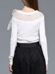 White Bow Paneled Elegant Slash Neck Knitted Sweater