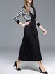Black Long Sleeve Graphic Knitted Two Piece Maxi Dress With Belt