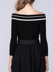 Black Stripes Long Sleeve Slash Neck Knitted Sweater