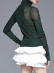 Dark Green Casual Ribbed Cowl Neck Knitted Long Sleeve Top