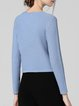 Blue Plain Long Sleeve Crew Neck Sweater