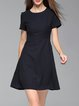 Dark Blue Elegant Polka Dots Cotton-blend Crew Neck Mini Dress
