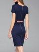 Navy Blue Paneled Elegant Bodycon Mini Dress
