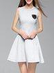 Beaded Elegant Plain Cotton-blend Sleeveless Mini Dress