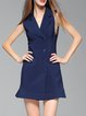 Royal Blue Flounce Elegant Plain Mini Dress