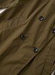 Army Green Lapel Long Sleeve Buttoned Solid Trench Coat