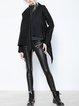 Black Solid Long Sleeve Asymmetric Wool-blend Coat