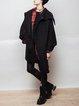 Black Lapel Solid Long Sleeve Asymmetric Zipper Coat