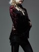 Red Statement Lace Paneled Stand Collar Coat