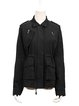 Black Washed Lapel Buttoned Pockets Casual Coat