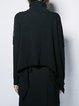 Black Solid Long Sleeve Wool Asymmetric Turtleneck Long Sleeved Top