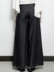Black Casual Pockets Plain Denim Wide Leg Pants