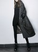 Black Casual Pockets Plain Coat
